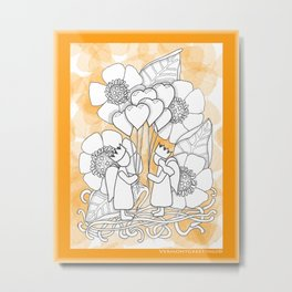 Kids with Hearts of Gold A Zentangle Illustration for Children Metal Print