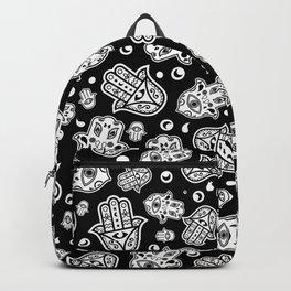 Hamsa Hand -Hand of Fatima black and white Backpack