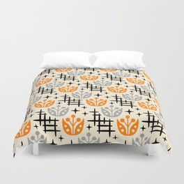 Mid Century Modern Space Flower Pattern Orange and Gray Duvet Cover
