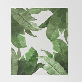 Tropical Palm Print Treetop Greenery Throw Blanket