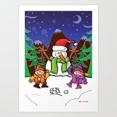 Christmas Snowman and Children Art Print
