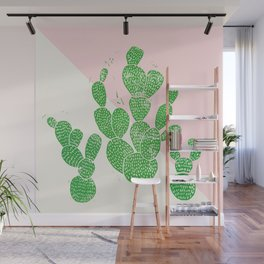 Linocut Cacti Family Wall Mural
