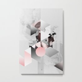 Geometric woman PINK Metal Print