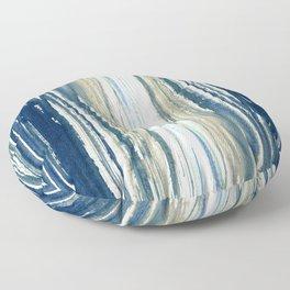 Indigo Blue and Beige Watercolor Stripes Floor Pillow