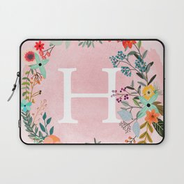 Flower Wreath with Personalized Monogram Initial Letter H on Pink Watercolor Paper Texture Artwork Laptop Sleeve