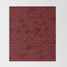 Halloween Damask Red Throw Blanket