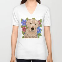 golden retriever V-neck T-shirts featuring Golden Retriever by ArtLovePassion