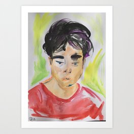 Watercolor Portrait of Man in Red Shirt Lost In Thought by Imaginarium Arts Art Print
