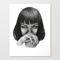 mia wallace Canvas Prints featuring Mia Wallace by Rebecca Hådell