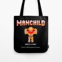 8bit Tote Bags featuring 8Bit Manchild by manchildtees.com