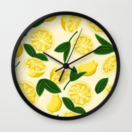 yellow lemons Wall Clock