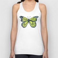 lime green Tank Tops featuring Lime Butterfly by Cat Coquillette
