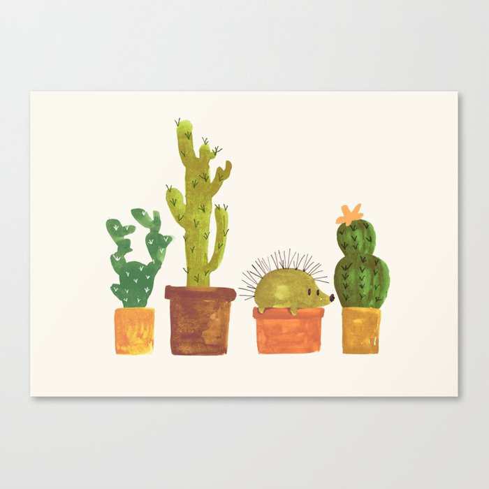 Hedgehog and Cactus (incognito) Canvas Print