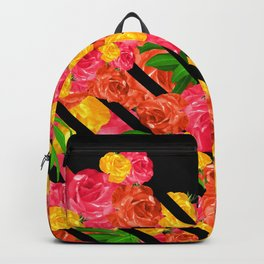 Bold Tropical Spring Floral With Stripes Backpack