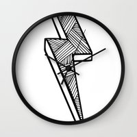 lightning Wall Clocks featuring Lightning by Amber Lily Fryer