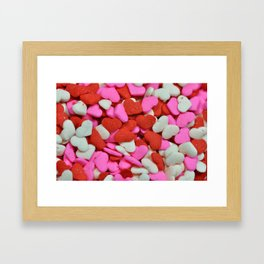 Pink and red candy hearts Framed Art Print