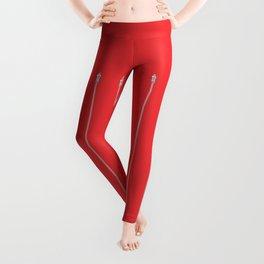 Zipper Pattern Red Leggings