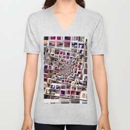 White House With Spinning 3D Cubes Unisex V-Neck