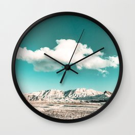 Vintage Desert Snow Cloud // Scenic Desert Landscape in Winter Fluffy Clouds Snow Mountains Cacti Wall Clock