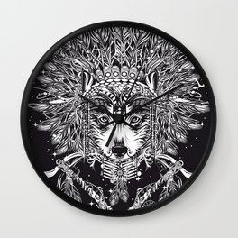 Chief wolf with crossed tomahawks Wall Clock