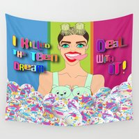 miley Wall Tapestries featuring Miley Killed The Teen Dream. Deal With It! by Peter Marsh