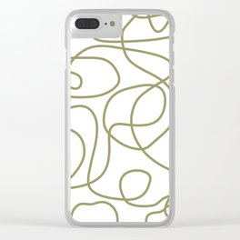 Doodle Line Art | Khaki / Olive Green Lines on White Background Clear iPhone Case