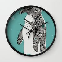 penguin Wall Clocks featuring Penguin by Rachel Russell