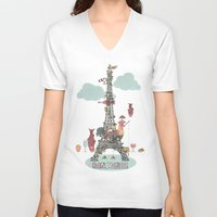 eiffel tower V-neck T-shirts featuring Eiffel Tower by ShangheeShin