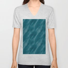 Tropical Dark Teal Inspired by Sherwin Williams 2020 Trending Color Oceanside SW6496 Abstract Blend Motion Blur Unisex V-Neck