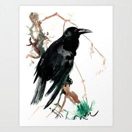 raven, raven crow artwork black brown Art Print
