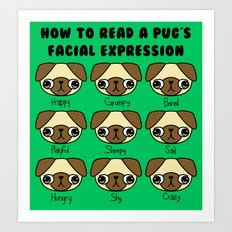 The many facial expressions of a pug Art Print