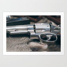 Closeup of powerful handgun. Pistol Revolver Handgun Art Print