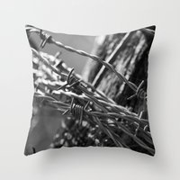 the wire Throw Pillows featuring Barbed Wire by Fine2art