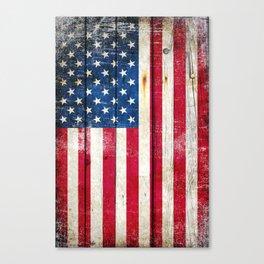 Vintage American Flag On Old Barn Wood Canvas Print