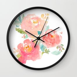 Watercolor Peonies Summer Bouquet Wall Clock