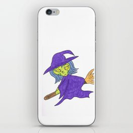 Little Witch on broom iPhone Skin