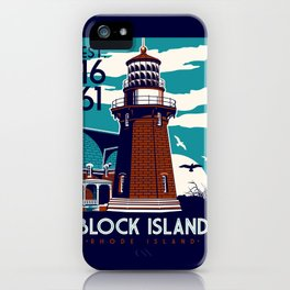 Block Island Southeast Light House Retro Vintage beach  Rhode Island iPhone Case