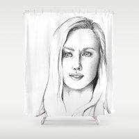 karen hallion Shower Curtains featuring Karen Page by Bitterness