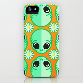 Happy Alien and Daisy Nineties Grunge Pattern iPhone Case