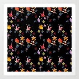 Dark Floral Garden Art Print
