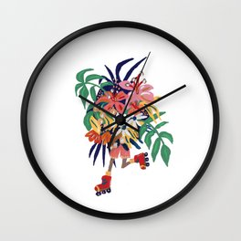 Floral Roller Babe Wall Clock