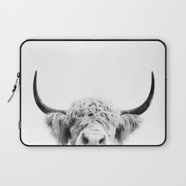 Peeking Cow BW Laptop Sleeve