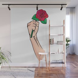 Rose In Hand Wall Mural