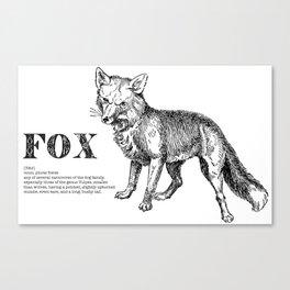 Fox Mock Dictionary Print Canvas Print