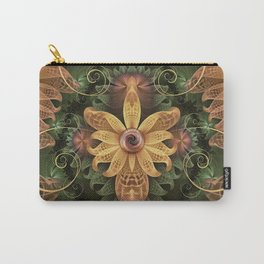 Beautiful Filigree Oxidized Copper Fractal Orchid Carry-All Pouch