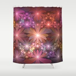 Bed Of Flowers Abstract, Fractal Art Shower Curtain