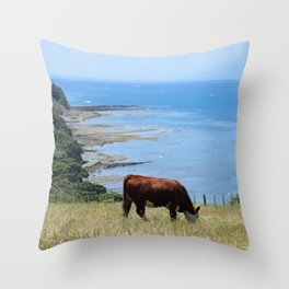 Cow by the Ocean Throw Pillow