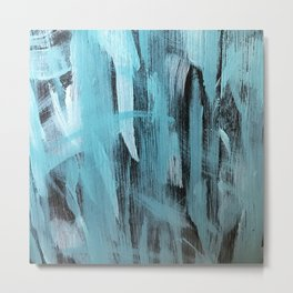 Turquoise Aqua Abstract Painting With Broad Brush Strokes Metal Print