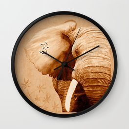 OM - ELEFANT sepia Wall Clock