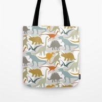 dinosaurs Tote Bags featuring Dinosaurs by Jill Byers